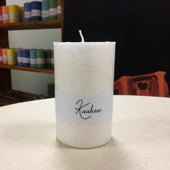 Valge suur looduslik pitsiline lauaküünal steariinist White Large Stearin Pillar Candle Kaabsoo
