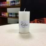 White Pillar Candle, 9x5 cm