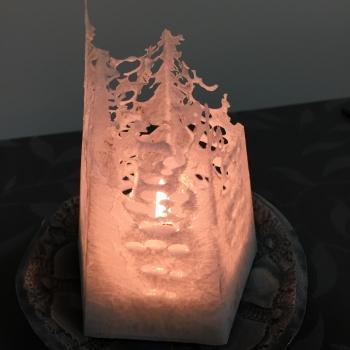 Kaabsoo küünal Arctic pitsiline küünal Kaabsoo Arctic Olive Stearin Cobweb Handmade Candle