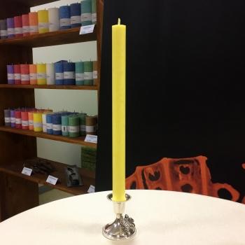 Kollane kristalliline looduslik käsitöö kroonküünal antiikküünal Yellow dinner candle natural Kaabsoo