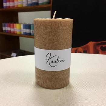 Pitsiline pruun käsitöö lauaküünal looduslikust vahast Brown Cobweb Pillar Candle Handmade