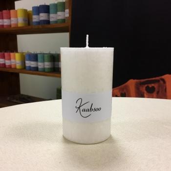 Pitsiline valge lauaküünal käsitöö looduslik steariin White Cobweb Pillar Candle Kaabsoo