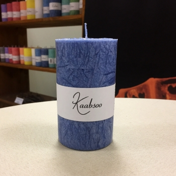 Tumesinine pitsiline lauaküünal Kaabsoo käsitöö Dark Blue Cobweb Handmade Pillar Candle