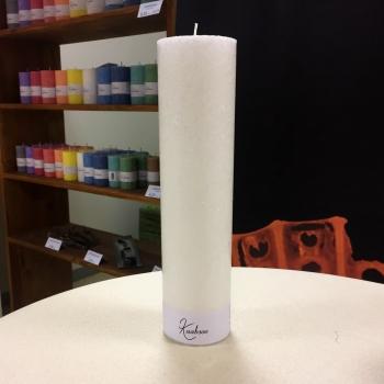 Valge suur pitsiline looduslik lauaküünal White Cobweb Natural Pillar Candle
