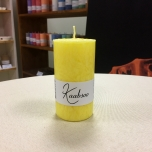 Yellow Pillar Candle, 9x5 cm